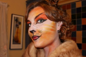 Halloween woman in cat make up right CC