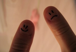 Happy Sad faces on fingers CC center